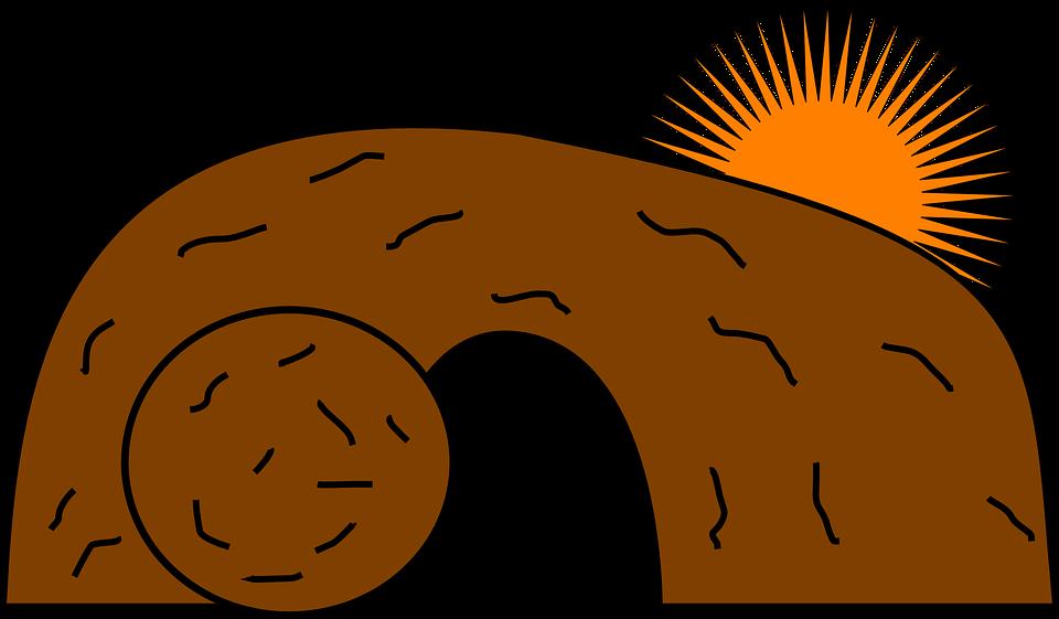 Cave, Tomb, Christ, Jesus, Risen, Rock, Sun, Brown Rock