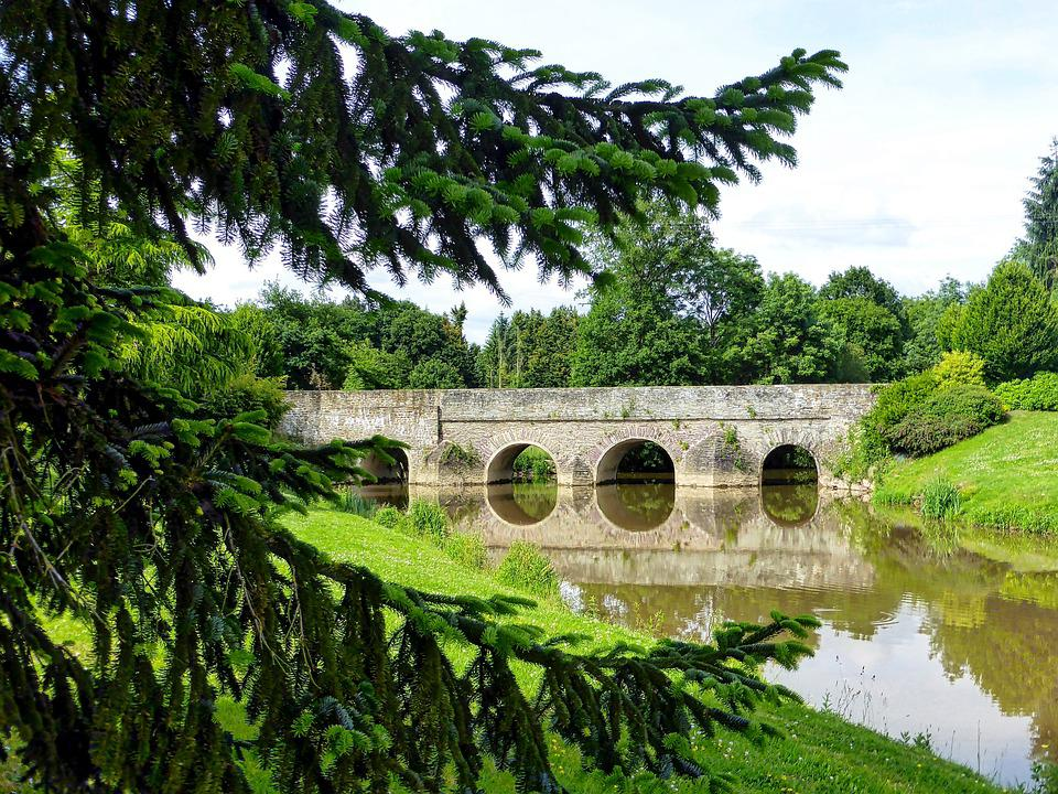 Bridge, Stone, Ploermel, Arches, River, Architecture