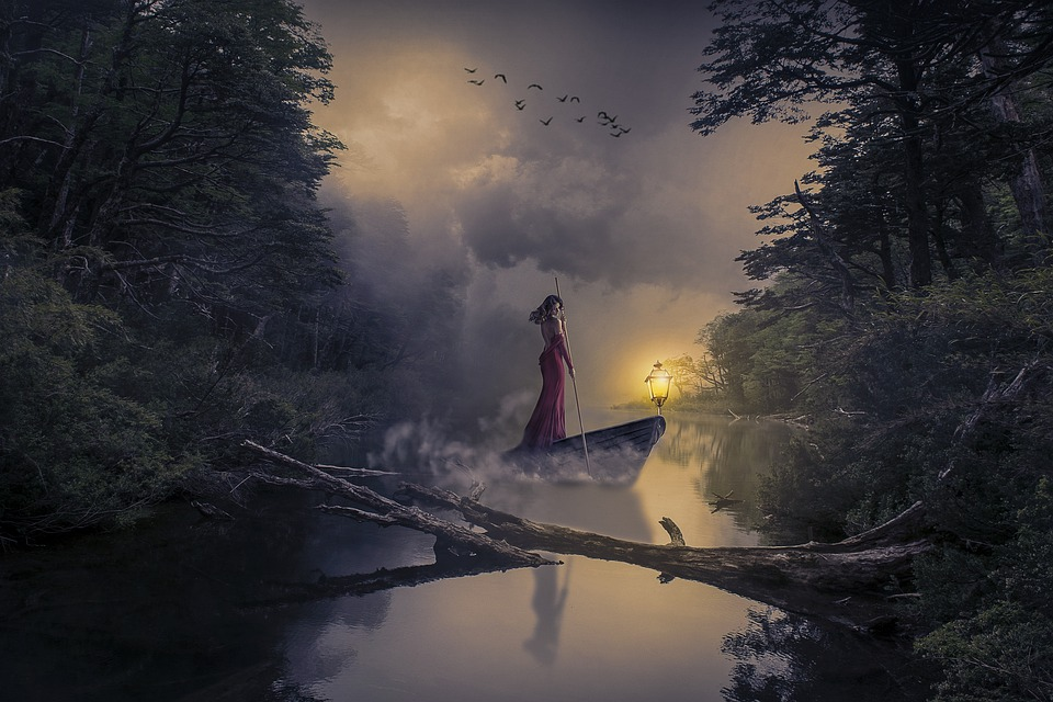 Manipulation, River, Forest, Woods, Woman, Boat, Birds