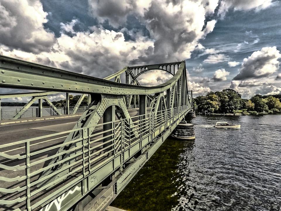 Bridge, Waters, Sky, River, Glienicker Bridge