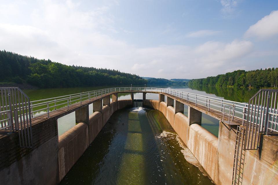 Waters, River, Bridge, Lake, Sky, Dam, Landscape