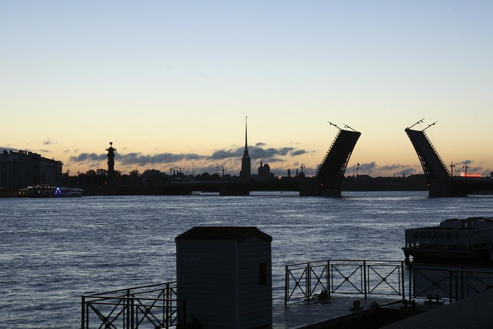 Russia, Bridge, Petersburg, White, Night, River, Neva