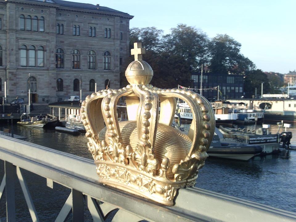 Bridge, Crown, River, Sweden, Stockholm, Sun