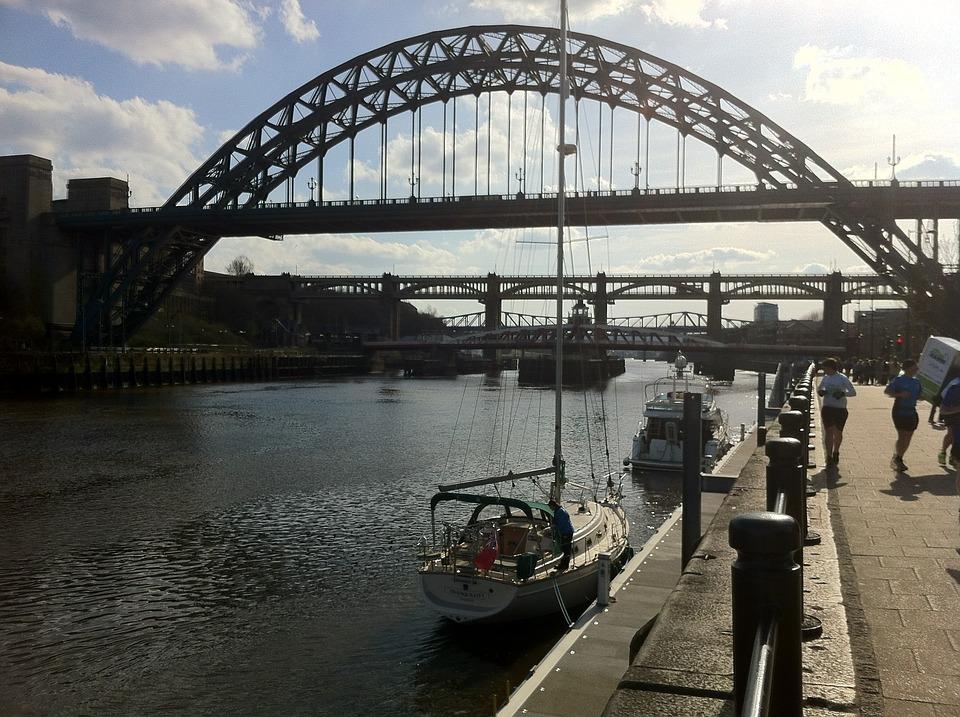 Newcastle, Bridges, Yacht, Silhouette, Bridge, River