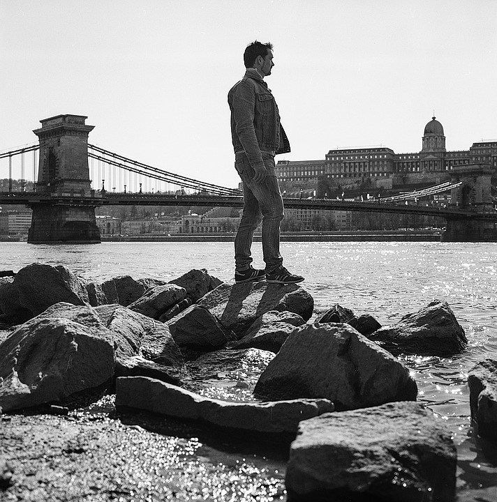 River, Young Man, Balance, Rocks, Bridge, Budapest