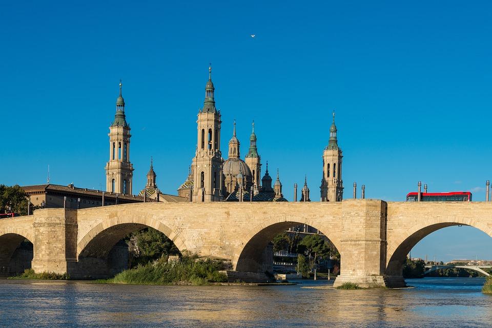 Zaragoza, Bridge, River, View, Water, City