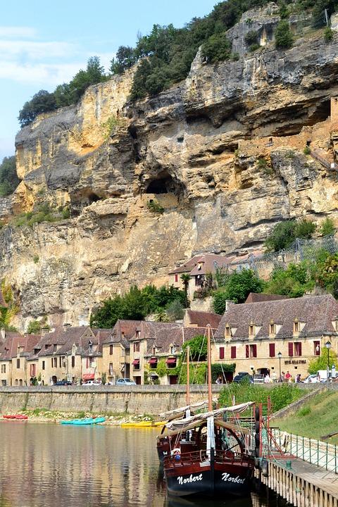 Cliff, River, Shore, Barge, Village, Houses