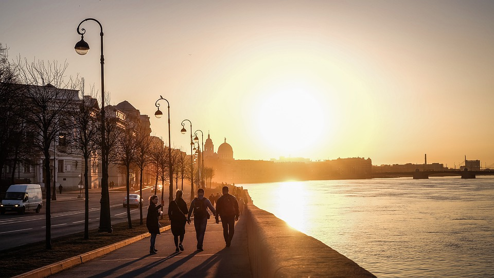 Sunset, City, River, Evening, Company, People