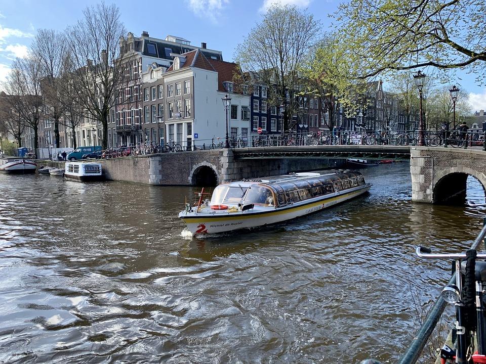 Amsterdam, River Crossing, River, Ship, Bridge