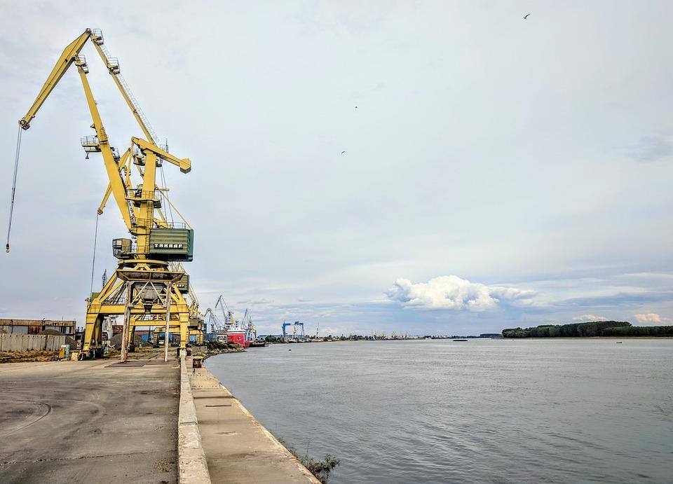 Crane Danube Galati Romania Port River Pier