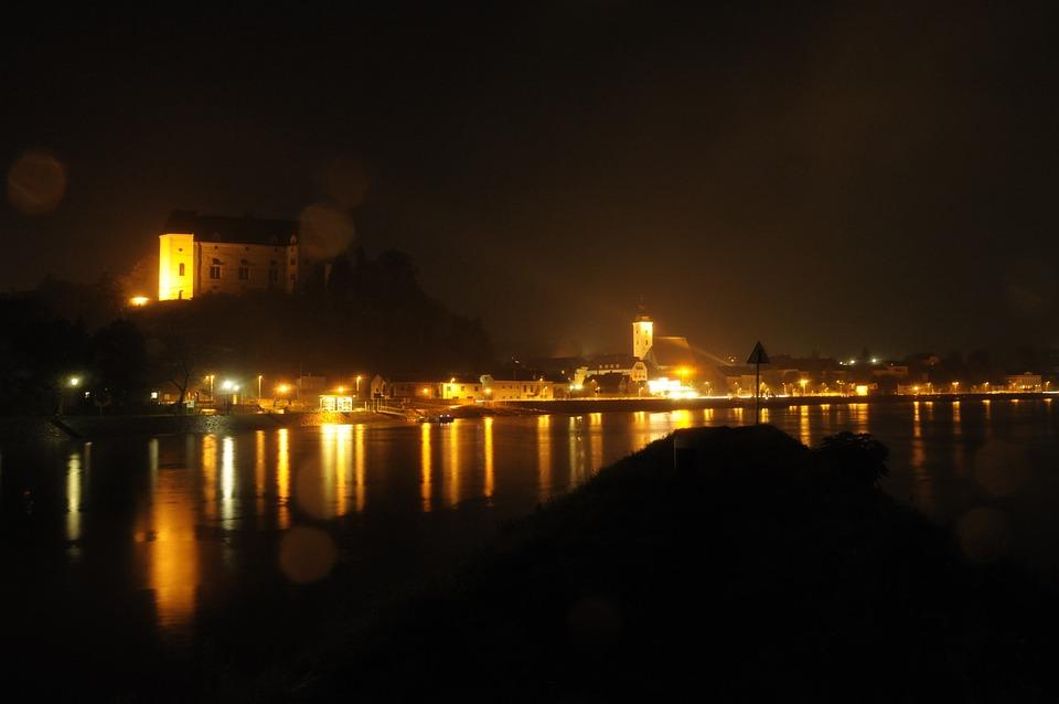 Grein, Danube, Water, River, Mirroring, Dark