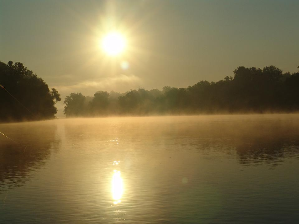 Drava, River, Dawn, Summer