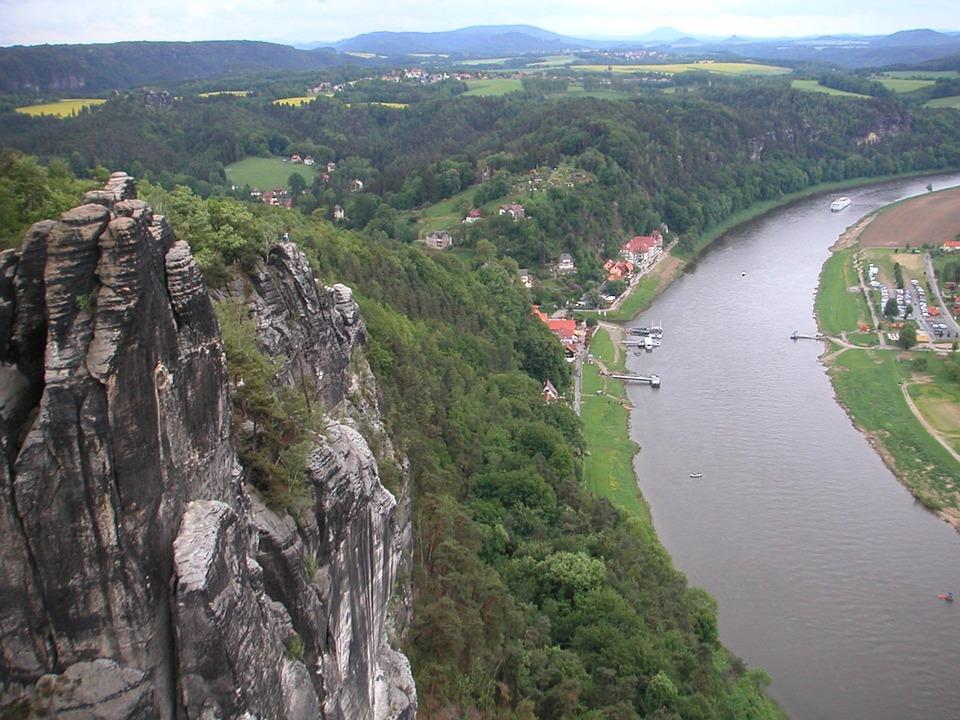 Elbe, River, Ship, Shipping, Panorama