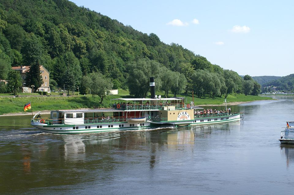 Elbe, River, Steamer, Elbe Sandstone Mountains