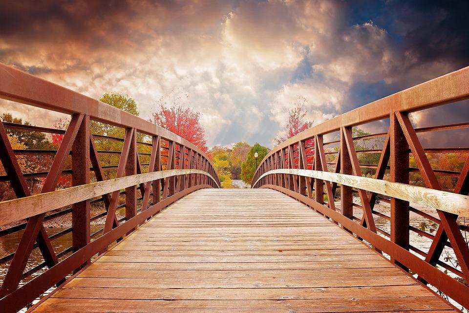 Bridge, Nature, Fall, River, Evening, Scenic, Autumn