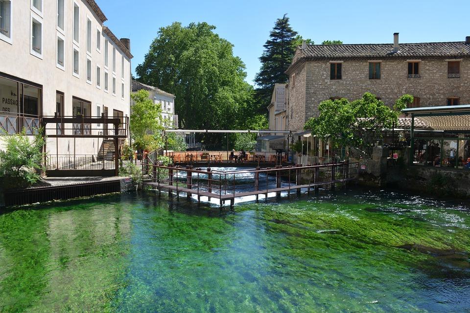 Fontaine De Vaucluse, Village, View, River, Colorful