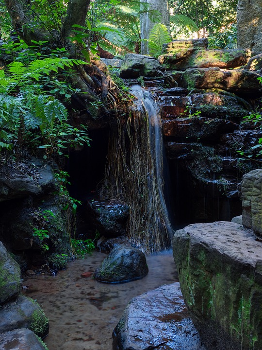 Waterfall, Water, Stream, River, Forest, Wood, Nature