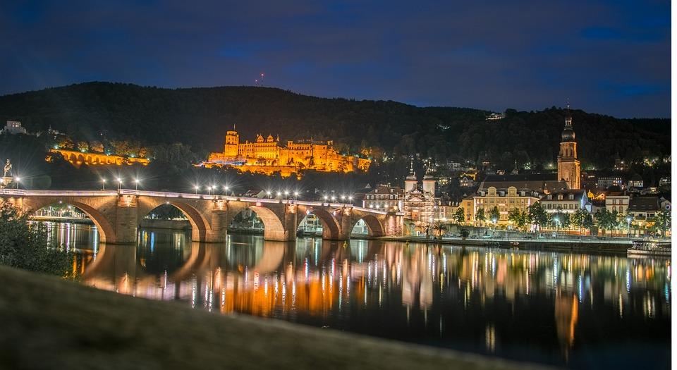 Heidelberg, Castle, Night, Germany, River