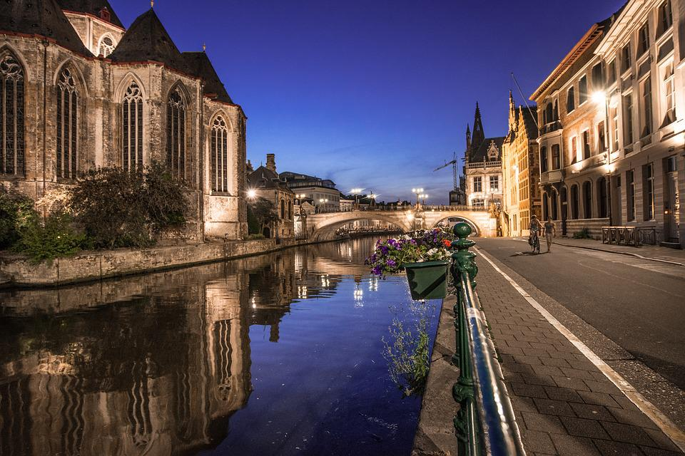 Night, Ghent, Belgium, River, Canal, City, Architecture