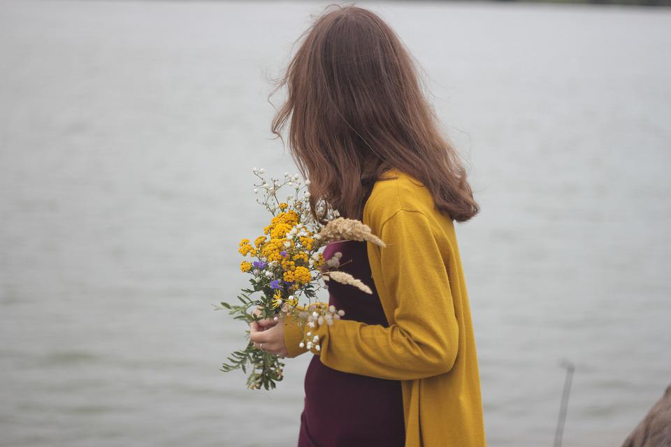 Spin, Girl, River, Nature, Flowers, Bouquet, Hair