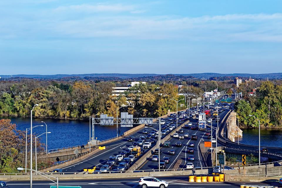 Highway, Bridge, River, Traffic