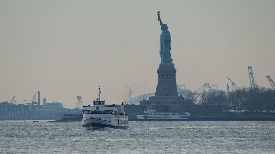 Boat, River, Statue Of Liberty, Hudson River