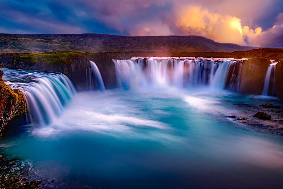 Godafoss, Iceland, Waterfall, Falls, Canyon, River