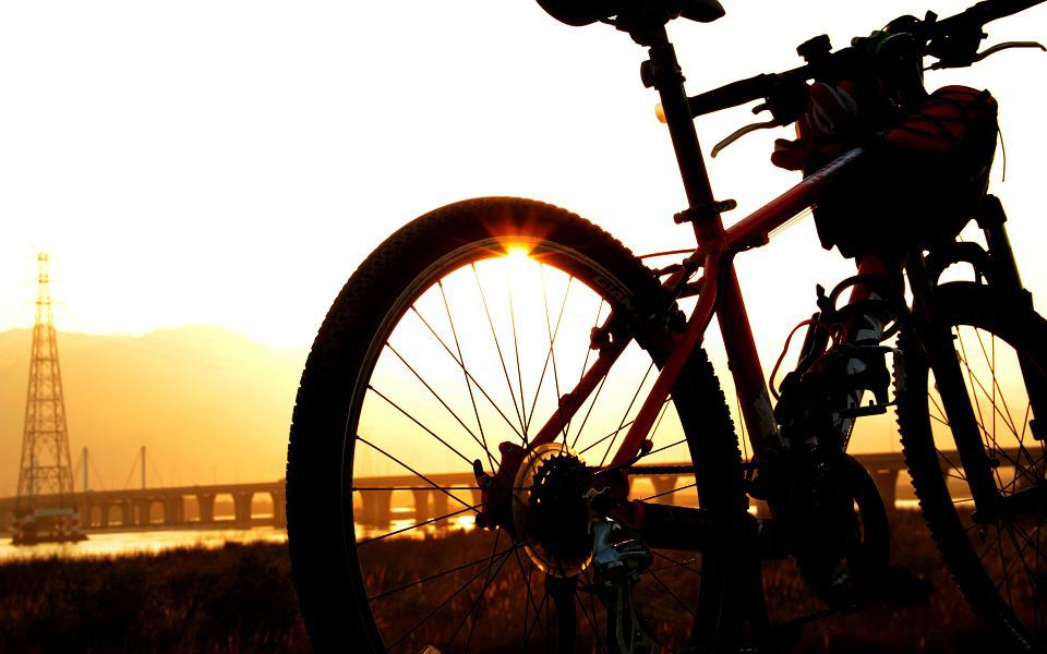 Sunset, Sun, Jiang, River, Bike