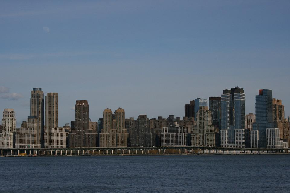 New York, Skyline, Skyscrapers, Landscape, Water, River