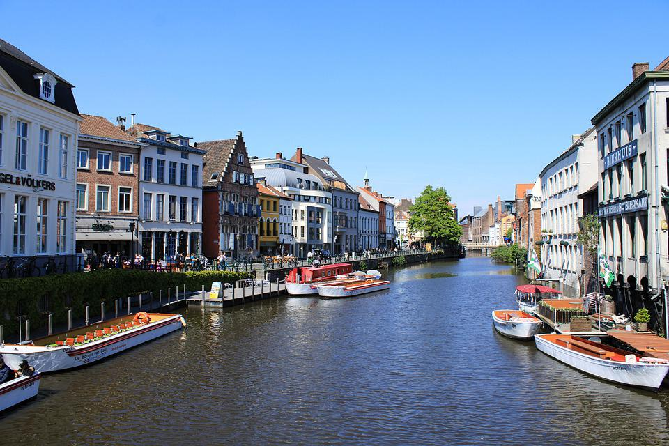 Belgium, Ghent, Gent, Downtown, River Leie, North Shore