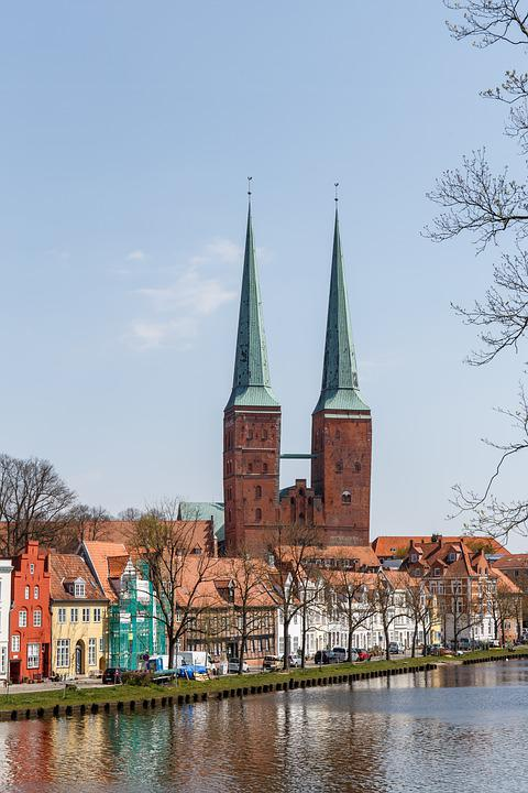 Town, Church, Lübeck, River, Water, Cathedral