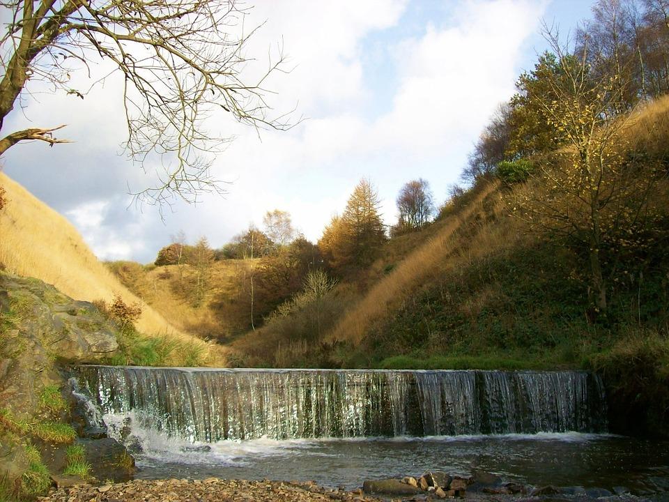 England, Great Britain, River Medlock, Water, Hills