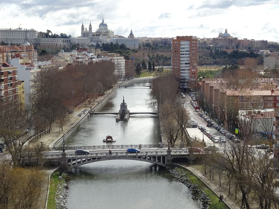 River, Manzanares, Madrid, Landscape, Nature, Bridge