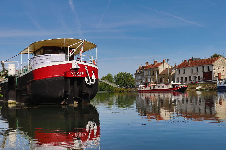 Peniche, Red And Black, Boats, River, Water, Nature