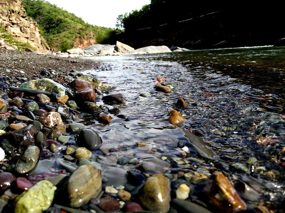 Pebbles, Water, River, Nature, River Bed