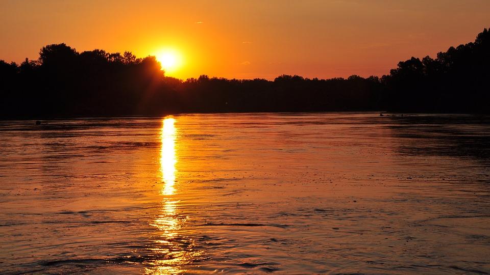 River, Sunset, Mood, Romantic, Nightfall, Nature