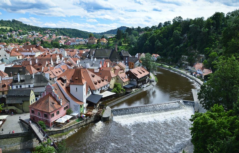 český Krumlov, Krumlov, River, City, Old, Tourism