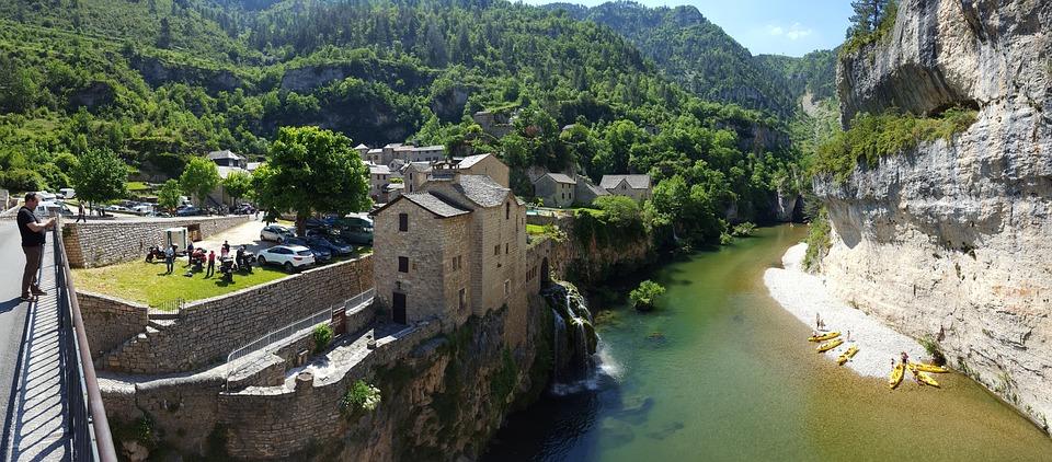Village, River, Throat, Tarn, France, Old Village