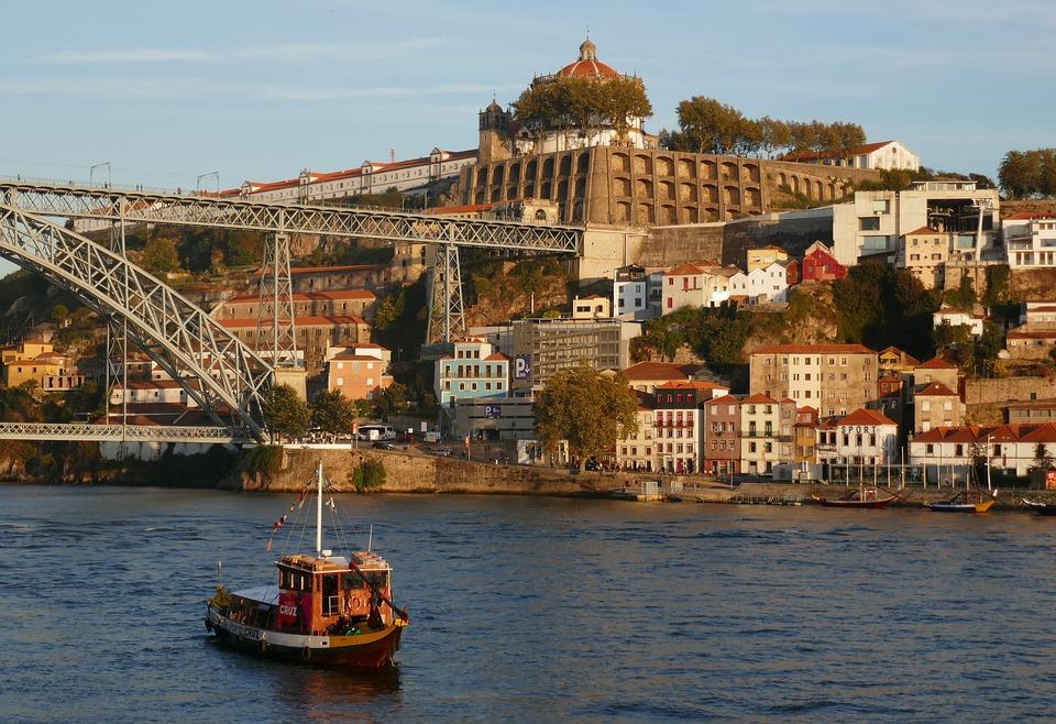 Porto, Portugal, City, River, Evening