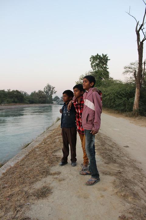 Boys, River, Water, Evening, Patiala, Punjab
