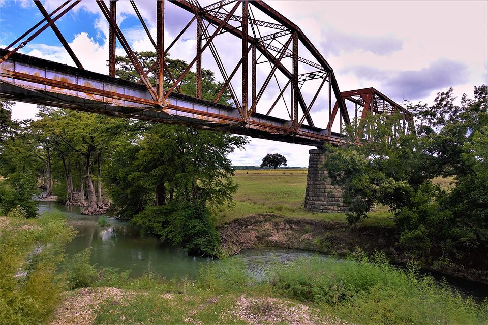 Bridge, Rusted, River, Rail Road, Crossing, Rural