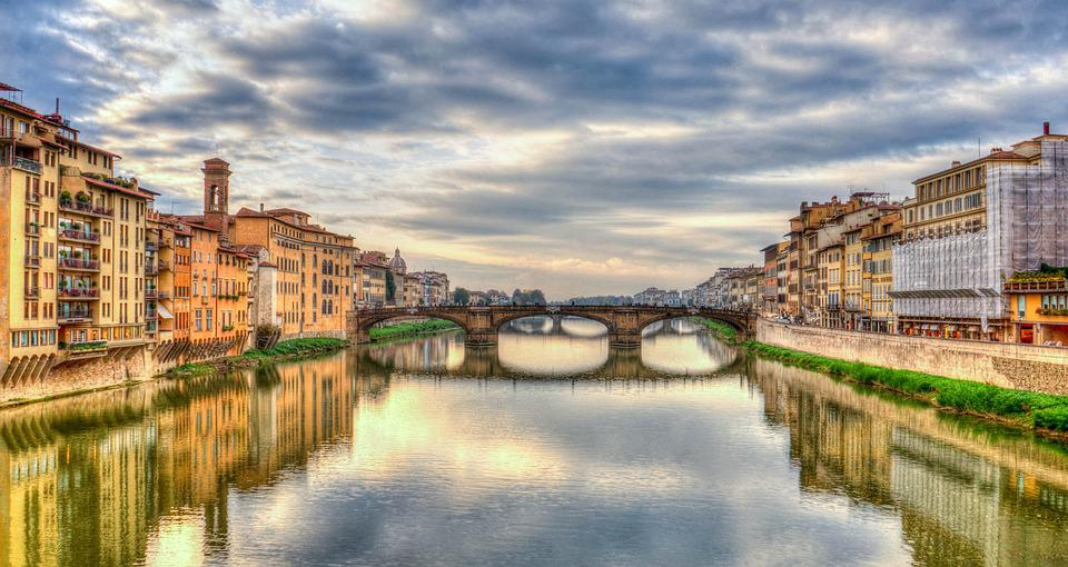 Arno River, Florence, Firenze, Italy, Reflection, River