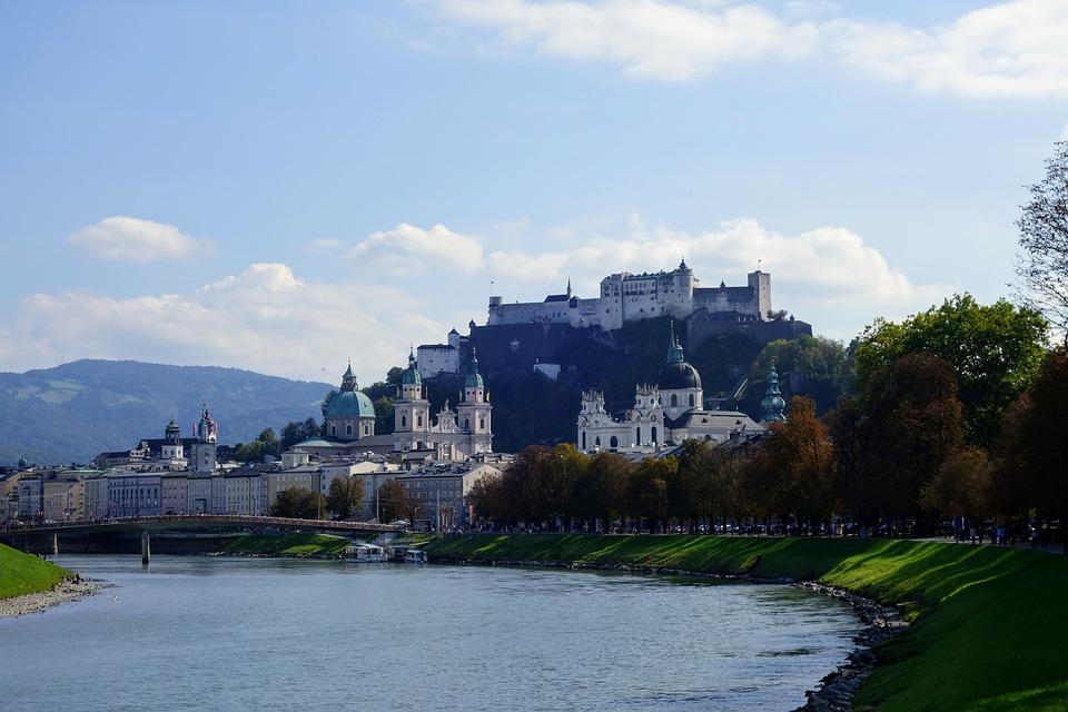 Salzburg, Austria, Fortress, Autumn, Salzach, River