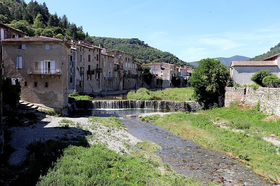 Village, River, Dam, Waterfall, Scenic, Landscape
