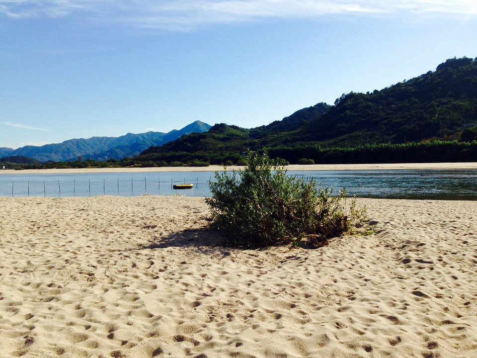 Seomjin, River, Sand, Mountain