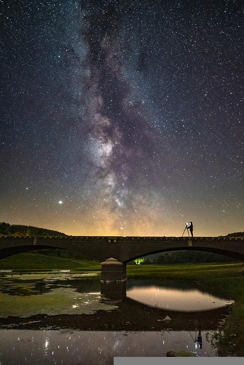 Stars, Starry Sky, Night Sky, Bridge, Lake, River