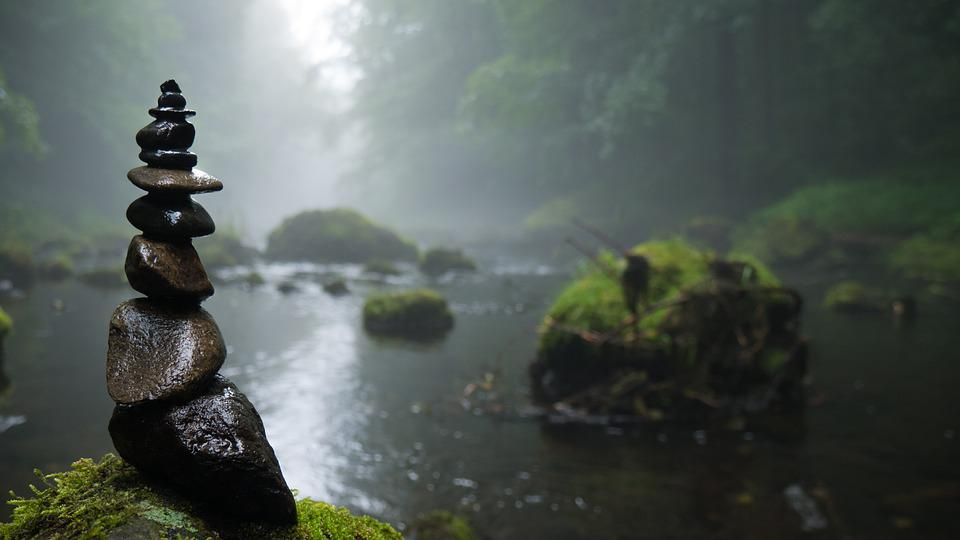 Cairn, Fog, Mystical, Background, River, Stones, Moss