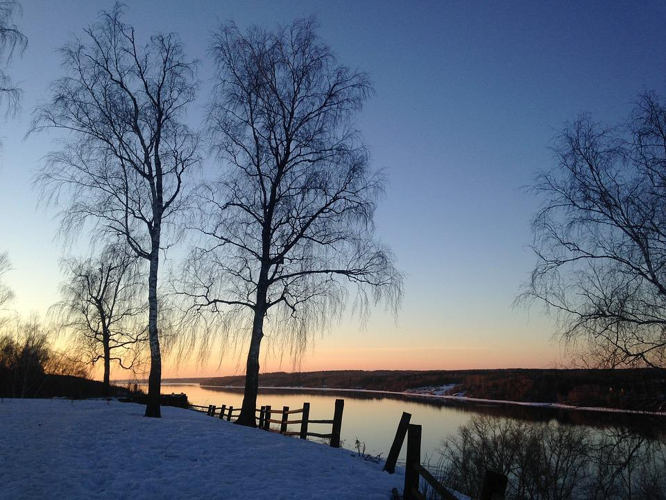 River, Sunset, Winter, Nature, Sky, Clouds, Water
