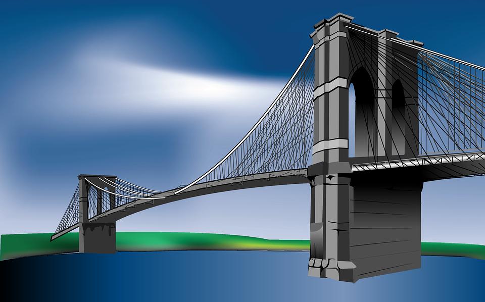 Suspension Bridge, Brooklyn Bridge, Bridge, River