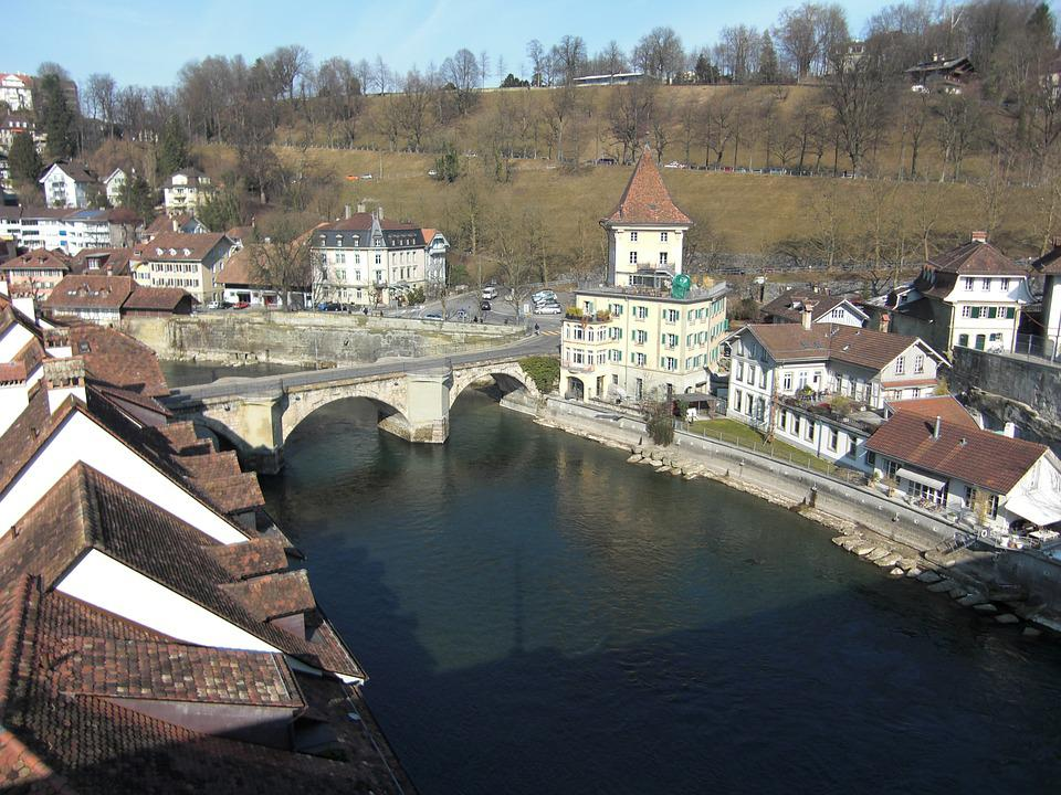 Bern, Downtown, Switzerland, River, Bridge